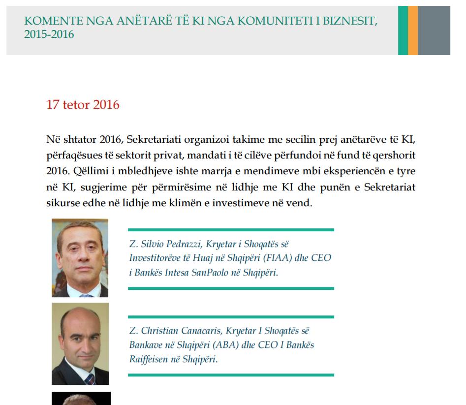 Anëtarë të Këshillit të Investimeve, 2015-2016